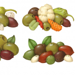 Olive and pepper product illustrations of green, black, Manzanilla, Kalamata, Gaeta, Cerignola, Castelvetrano, Castel, and pepperancini .