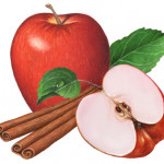 Red apple with a cut half and cinnamon sticks