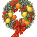 Christmas fruit wreath with apples, blueberries, cherries, pears, lemons, oranges, strawberries and raspeberries