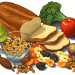 High fiber foods including broccoli, fresh and dried fruit. whole grain cereal and bread
