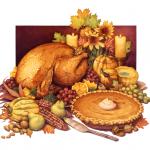 Thanksgiving food still life with roast turkey, pumpkin pie, squash, fruit and flowers