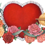 Valentine's Day red heart pillow with lace and arrow through it, with roses and green ribbon.