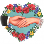 Romantic, Valentine's Day, wedding flower heart with holding hands