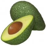 One green avocado with a cut half