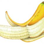 Half peeled banana