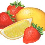 Strawberry Lemonade ingredients with three whole strawberries, one whole lemon and one lemon slice