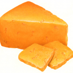 Cheddar cheese wedge with two cut cheese slices