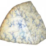 Blue cheese triangular wedge on its side