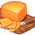 Cheddar cheese wedge on a wooden cutting board with a cheese knife and three cut cheese slices