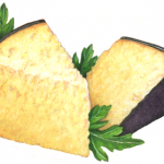 Two Parmesan cheese wedges with purple skin and Italian parsley