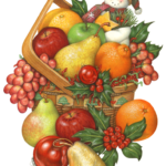 A Christmas basket filled with apples, grapes, pears, oranges, tangerines, mandarin oranges, holly and a snowman ornament.