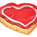 Heart shaped Valentine's Day cookie with red frosting.