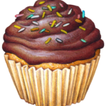 Cupcake with chocolate frosting, icing and sprinkles.