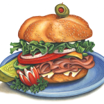 A deli sandwich with ham, Swiss cheese, lettuce, mayonnaise, tomato, pepper, onion, on a bun with a dill pickle slice and a cut radish for a garnish on a blue plate.