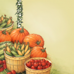 Fall harvest scene with pumpkins and bushel baskets of apples and corn