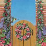 Garden gate scene with flowers and hummingbird