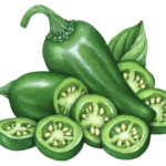 One whole green jalapeno pepper with one cut jalapeno half with six slice pieces