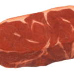 Raw beef New York strip steak.