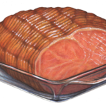 Ham roasting in a glass dish.