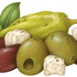Greek Meze, a Mediterranean food medley consisting of kalamata and green queen olives, peperancini and feta cheese