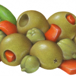 Alcaparrado medley of pitted and stuffed green olives, pimento, sweety pep strips, and capers