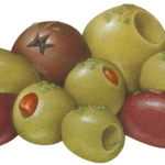 Olive medley consisting of green pitted and stuffed Queen and Manzanillo olives, Kalamata, Calamata, Greek black, and California Sacilian olives