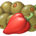 Queen green olives stuffed with pimento