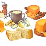 Asiago, cheddar, Parmesan, blue, and Gorgonzola cheeses.