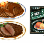Food illustrations of roasted turkey, roast beef, and cracked peppercorn beef roast.