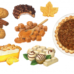 Cinnamon Snap cookies, chocolate peanut cluster candy, maple candy, caramels, maple pecan pie, white chocolate truffles, and lemon meringue pie illustrations.