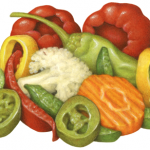 Hot Mixed Pepper Salad Medley consisting of red cherry peppers, peperoncinis, salonica peppers, red and green sweet pepps pepper strips, jalapeno slices, banana pepper rings, marinated cauliflower, celery and carrot pieces