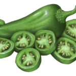 Whole and sliced fresh green jalapeno peppers