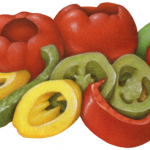 Pazzo Peppers Medley consisting of red cherry peppers, red and green sweety pepps strips, jalapeno slices and banana pepper rings