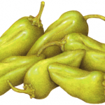 Six whole peperoncini salonica peppers