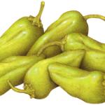 Six whole peperoncini salonica peppers