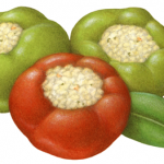 Two green and one red cherry peppers stuffed with bread crumbs
