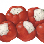Six red sweety pepps peppers stuffed with cream cheese