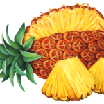 Whole pineapple with two cut pineapple triangular chunks