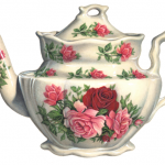 White porcelain teapot with an English rose decoration
