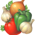 Vegetables including tomato, green bell pepper, onion and garlic.
