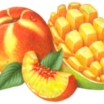 Whole peach and a peach slice with a cut, cubed mango half.
