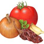 Tomato, onion, chipotle pepper, garlic and cilantro.
