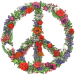 Watercolor illustration of a peace sign made of flowers.