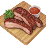 Three cut smoked ribs on a wooden cutting board with parsley garnish.
