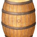 Wooden whiskey barrel.