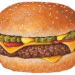 Hamburger with cheese, ketchup, mustard and pickles.