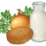 Mashed potato ingredients including potato, milk, cream, onion and parsley.