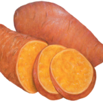 One whole sweet potato, one cut half and two cut sweet potato slices.