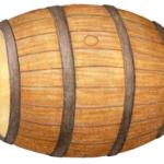 Oak whiskey barrel on its side.