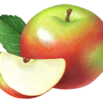 One whole Macintosh apple with an apple slice and leaf.